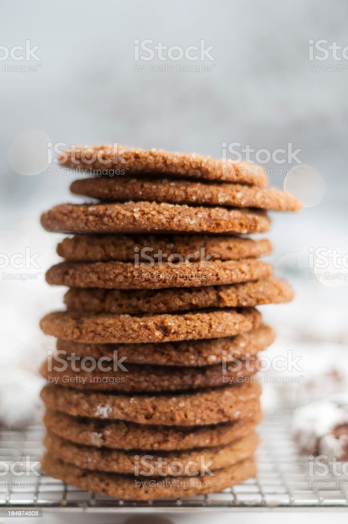 Stack of Molasses Crinkles stock photo