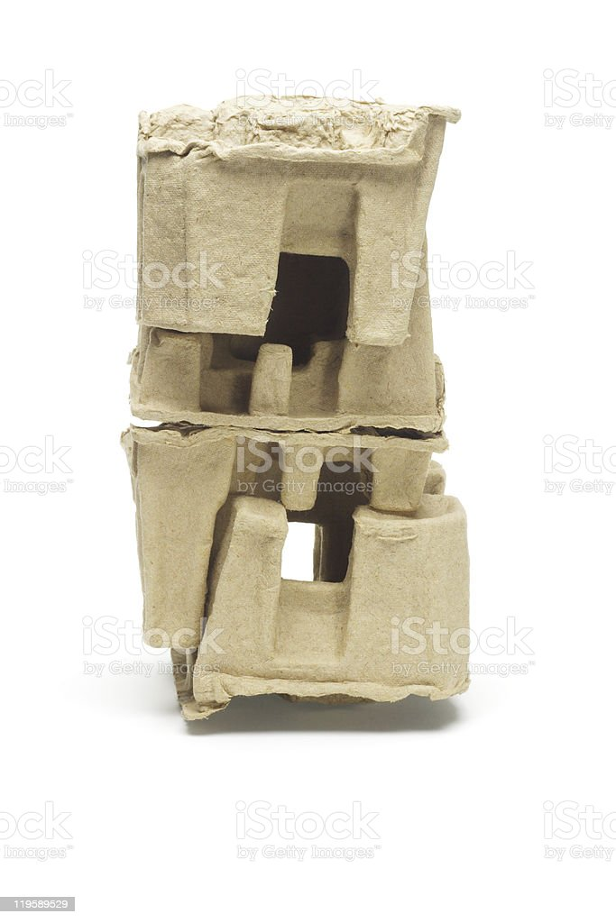 Stack of molded paper packing protectors stock photo