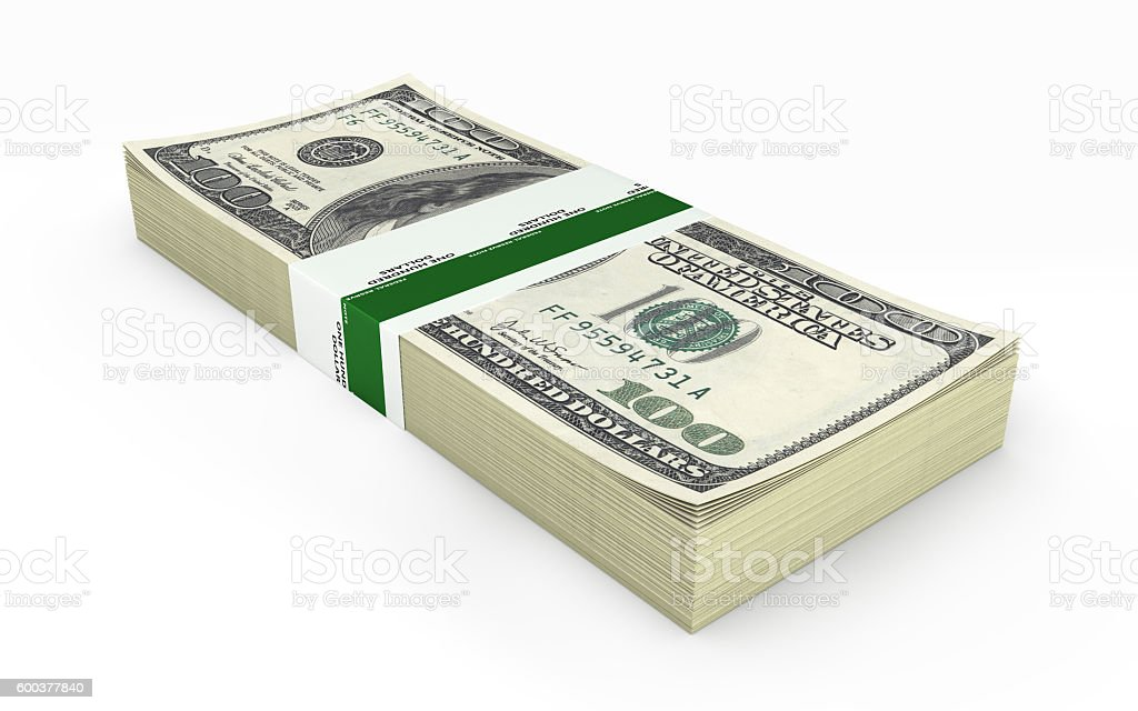 stack of money american hundred dollar bills isolated on