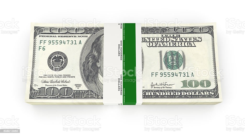 Stack of money american hundred dollar bills isolated on white stock photo