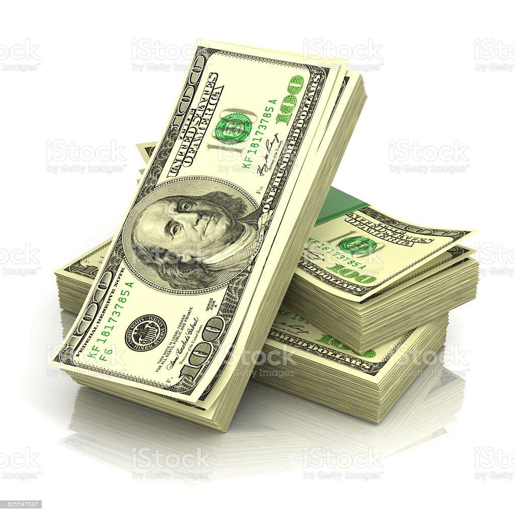 Stack of money dollars stock photo