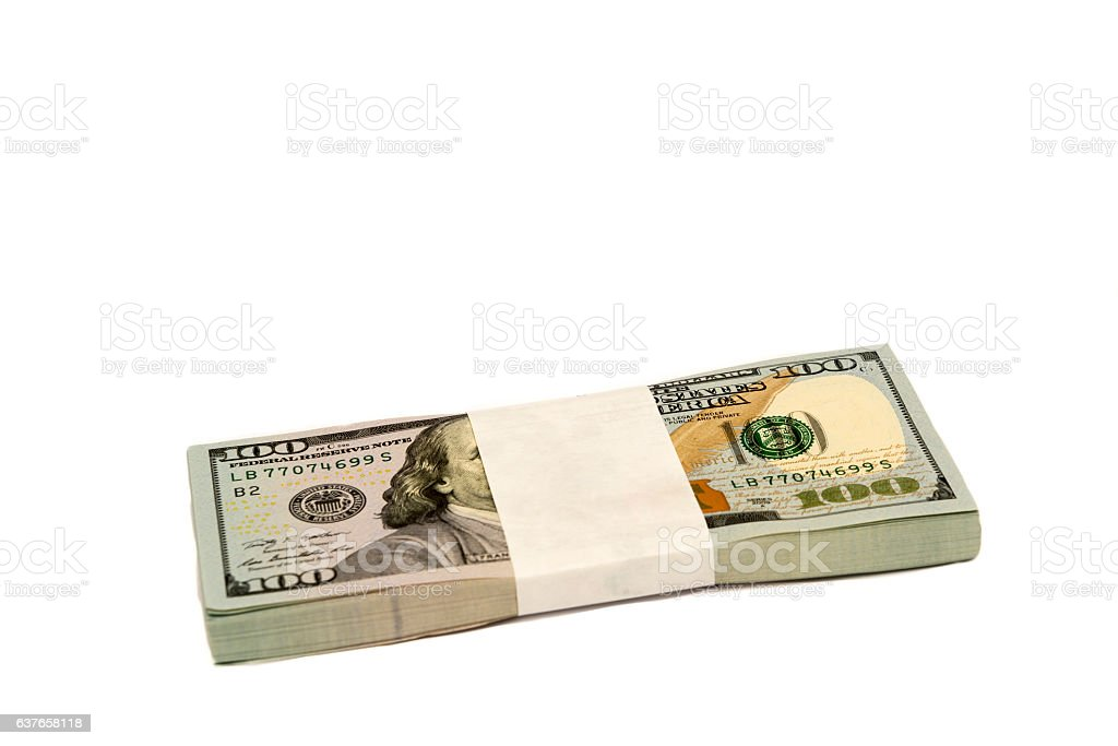 Stack of money in hundred dollar banknotes isolated copy space stock photo