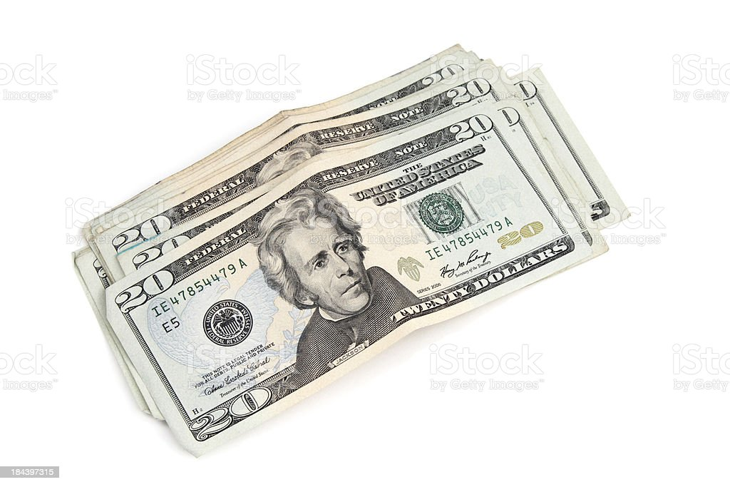 Stack of money in twenty's royalty-free stock photo