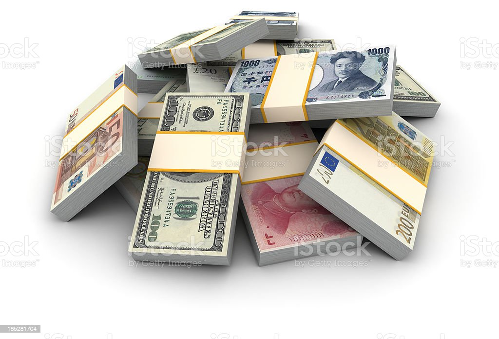 Stack of money piles stock photo
