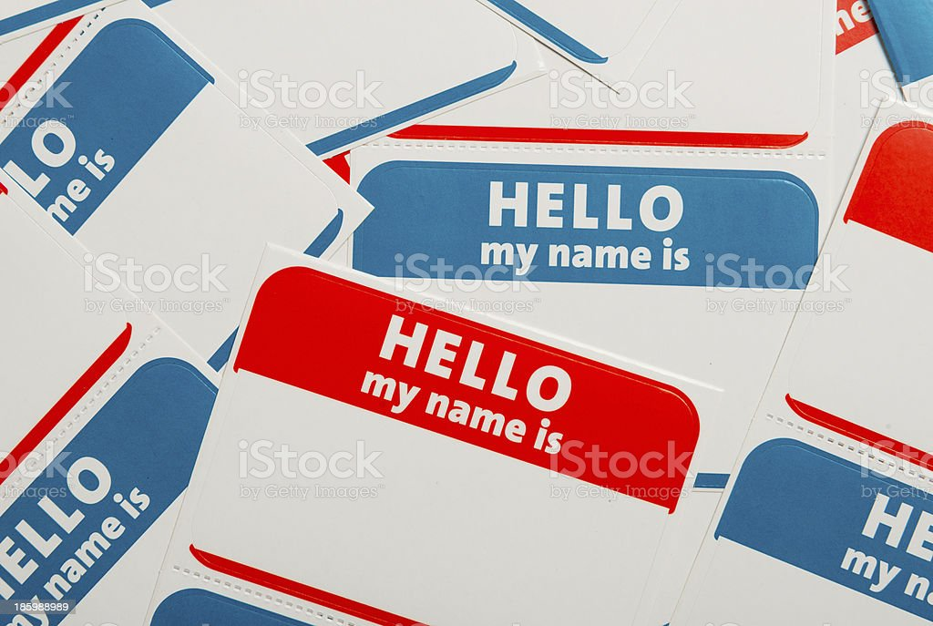 Stack of name tags or badges stock photo