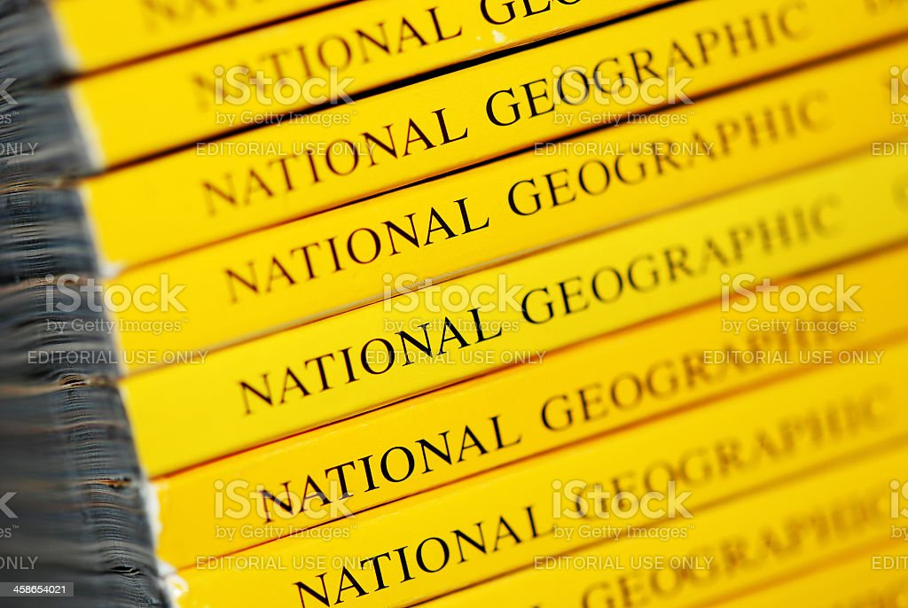 Stack of National Geographic magazines macro close-up royalty-free stock photo