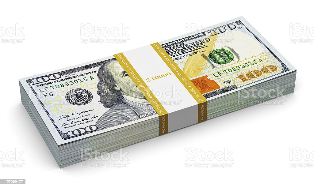 Stack of new 100 US dollar banknotes royalty-free stock photo