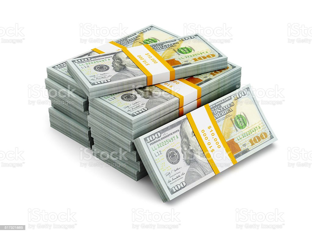 Stack of new 100 US dollars 2013 edition banknotes stock photo
