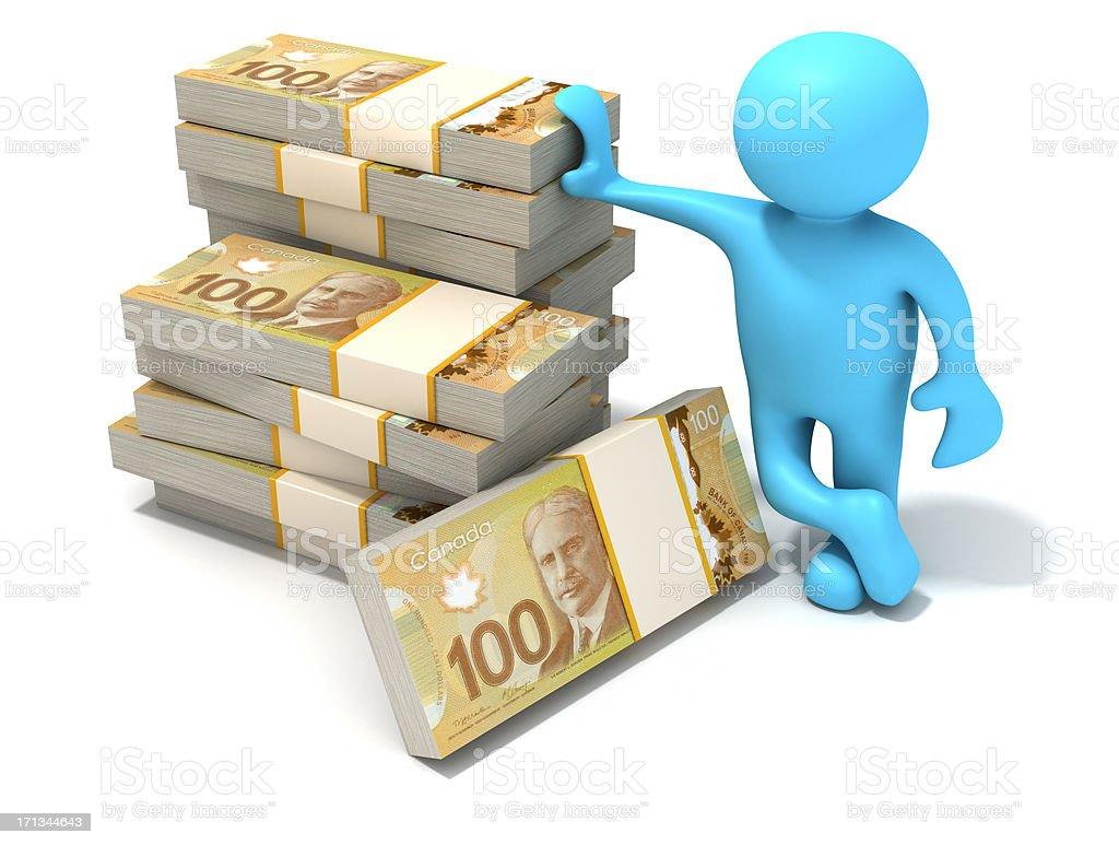 Stack of new Canadian dollar bills. stock photo