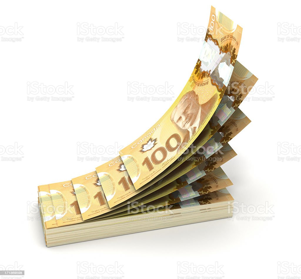 Stack of New Canadian Dollar bills stock photo
