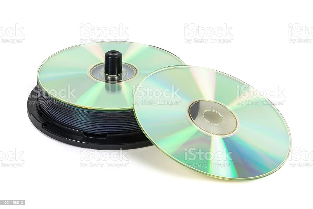 Stack of new CDs on spool stock photo