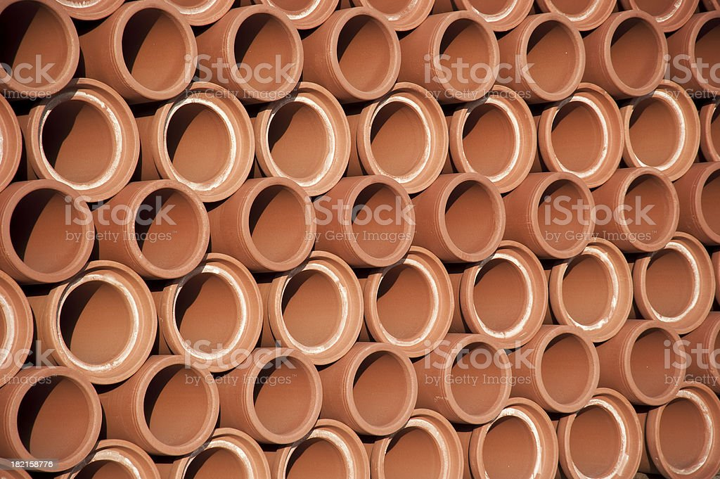 Stack of new sewer pipes royalty-free stock photo