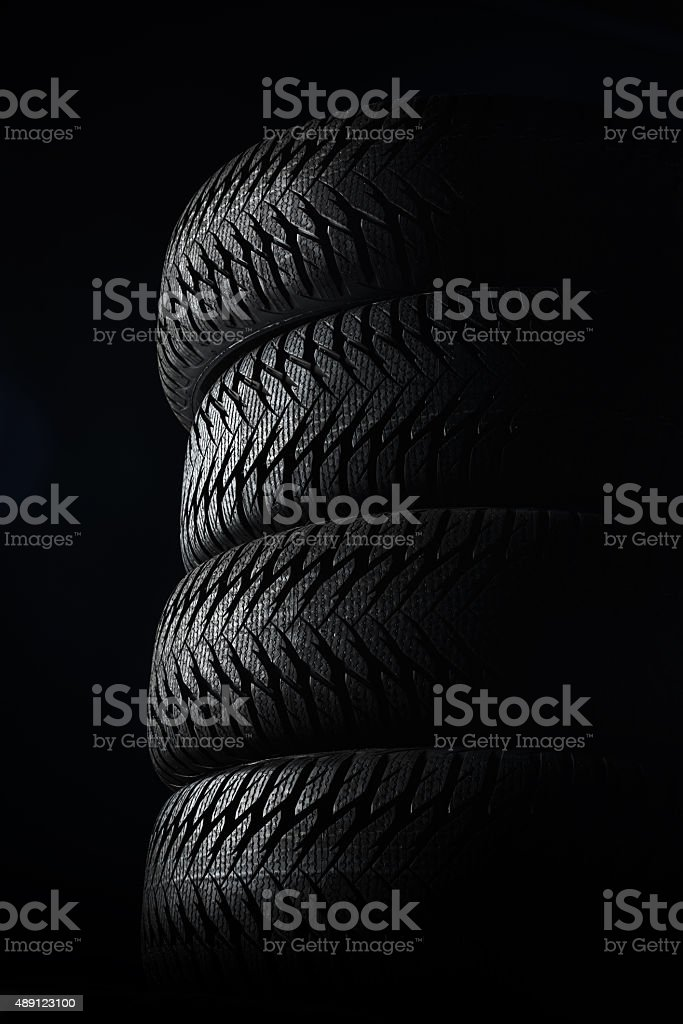 Stack of new tires stock photo
