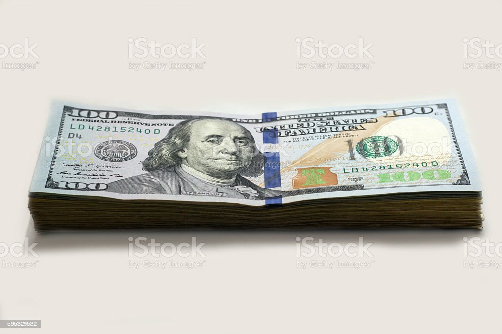 Stack of new type hundred dollar banknotes stock photo