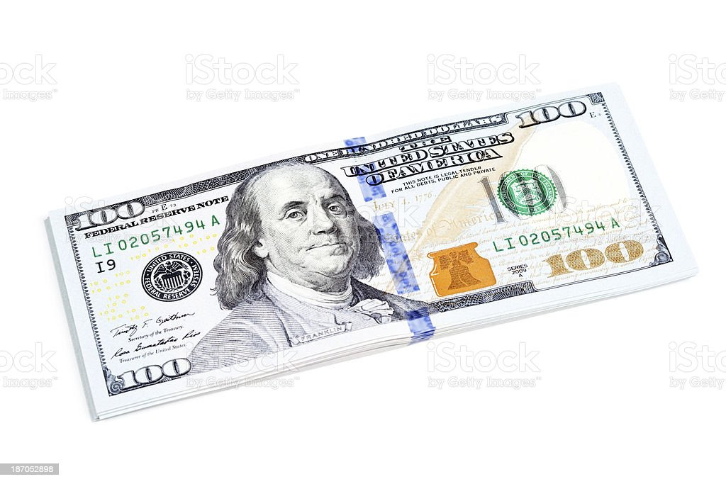 Stack of New US 2013 $100 Bills on White royalty-free stock photo