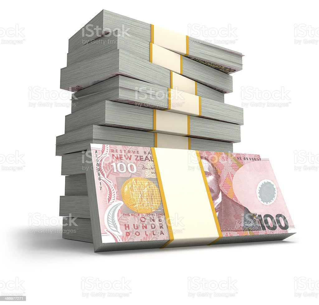 Stack of New Zealand dollar bills stock photo