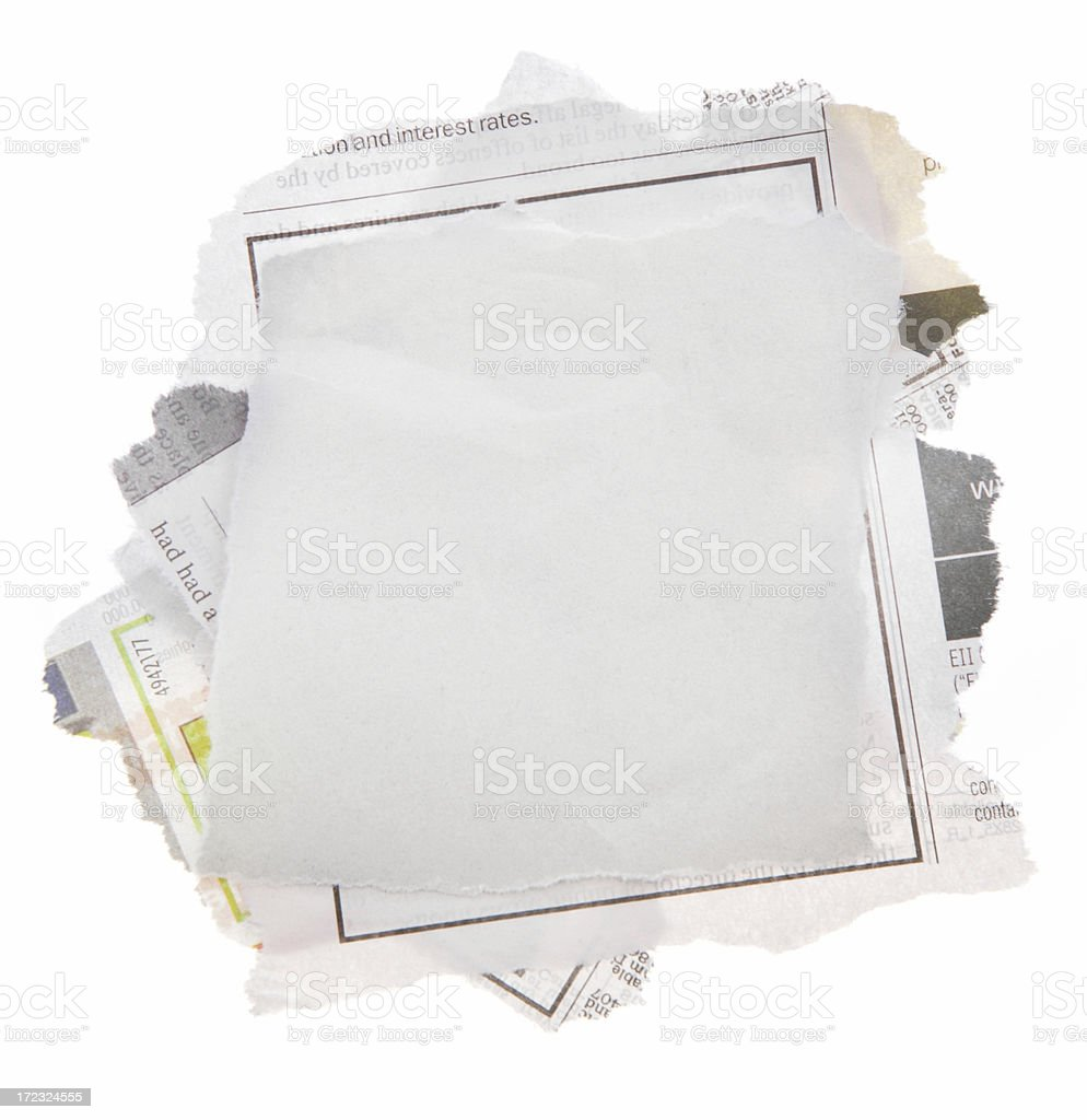 Stack of Newspaper clippings stock photo
