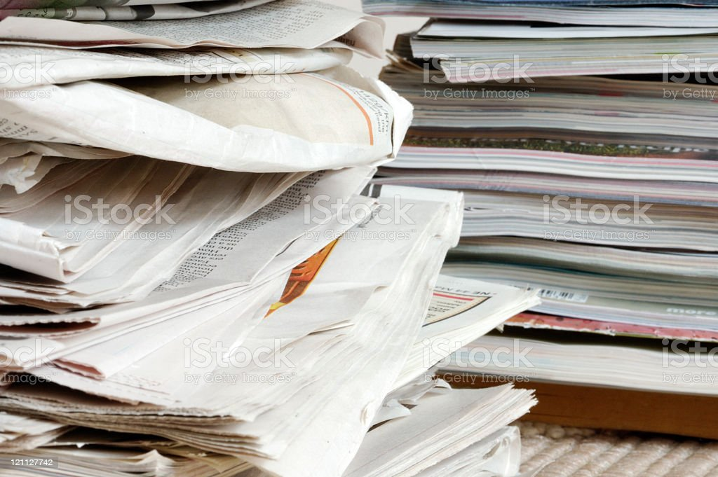 Stack of newspapers and magazines royalty-free stock photo