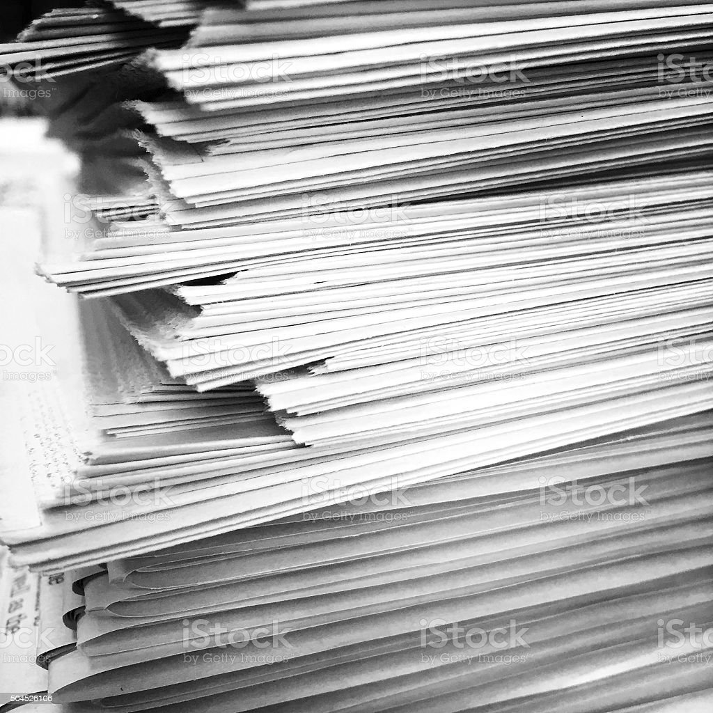 Stack of Newspapers in Black and White stock photo
