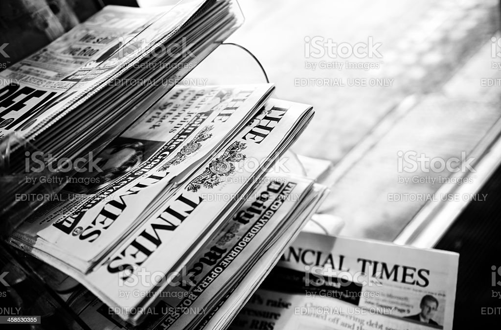 Stack of Newspapers. London - England. Black And White stock photo