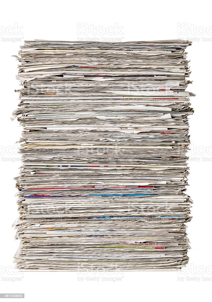 Stack of newspapers on a white background stock photo