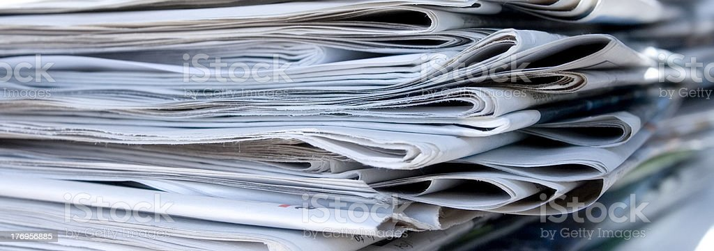 Stack of newspapers royalty-free stock photo