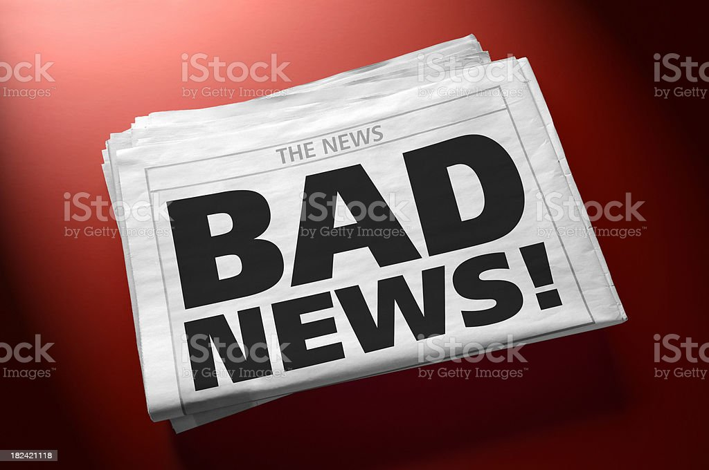 Stack of newspapers with headline BAD NEWS! royalty-free stock photo
