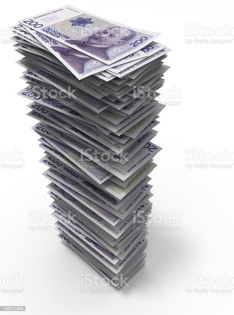 Stack of Norwegian krones stock photo