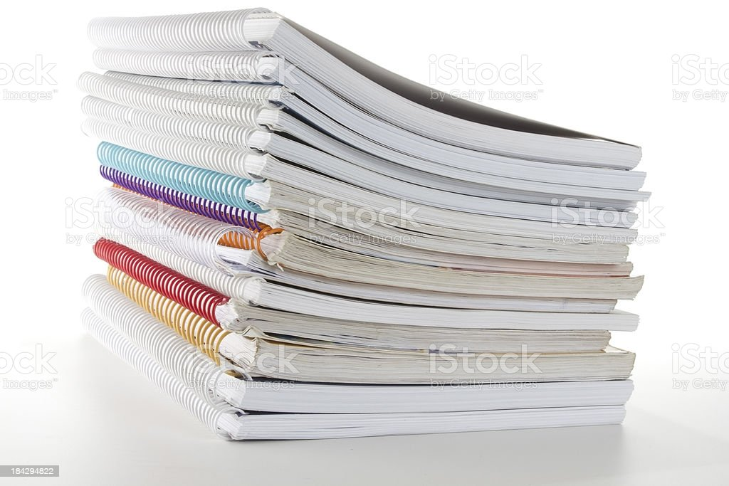 Stack of notebooks and handouts royalty-free stock photo
