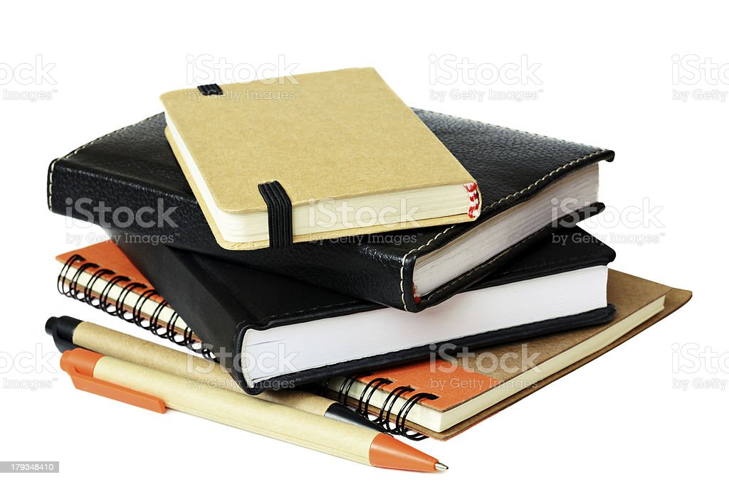 Stack of notebooksand pens royalty-free stock photo
