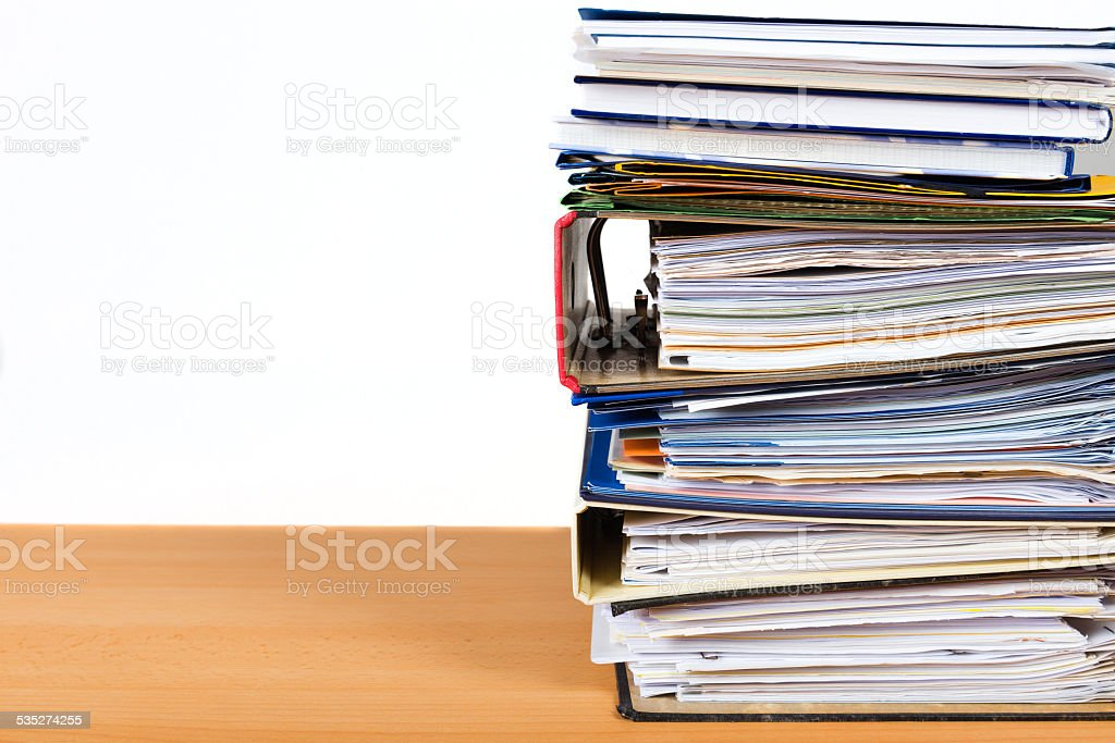 stack of office documents stock photo