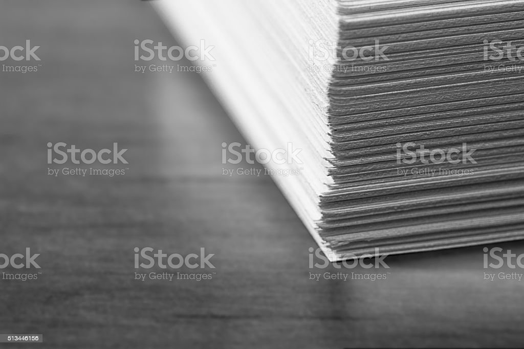 Stack of Office Papers - Black and White stock photo