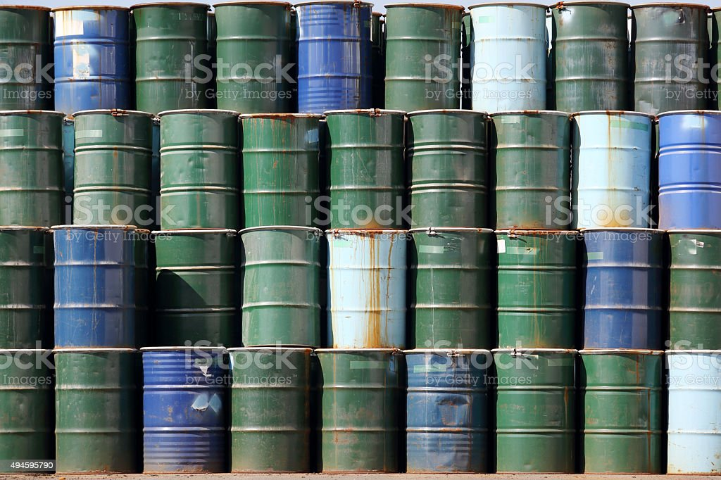 stack of oil barrels stock photo