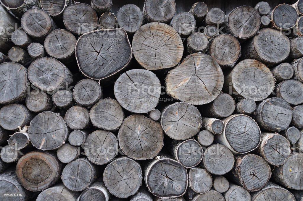 Stack of old birch chocks stock photo