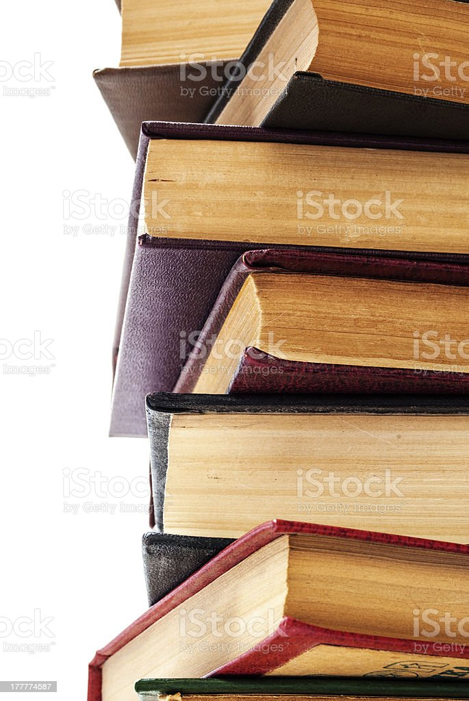 Stack of Old Books isolated on white royalty-free stock photo