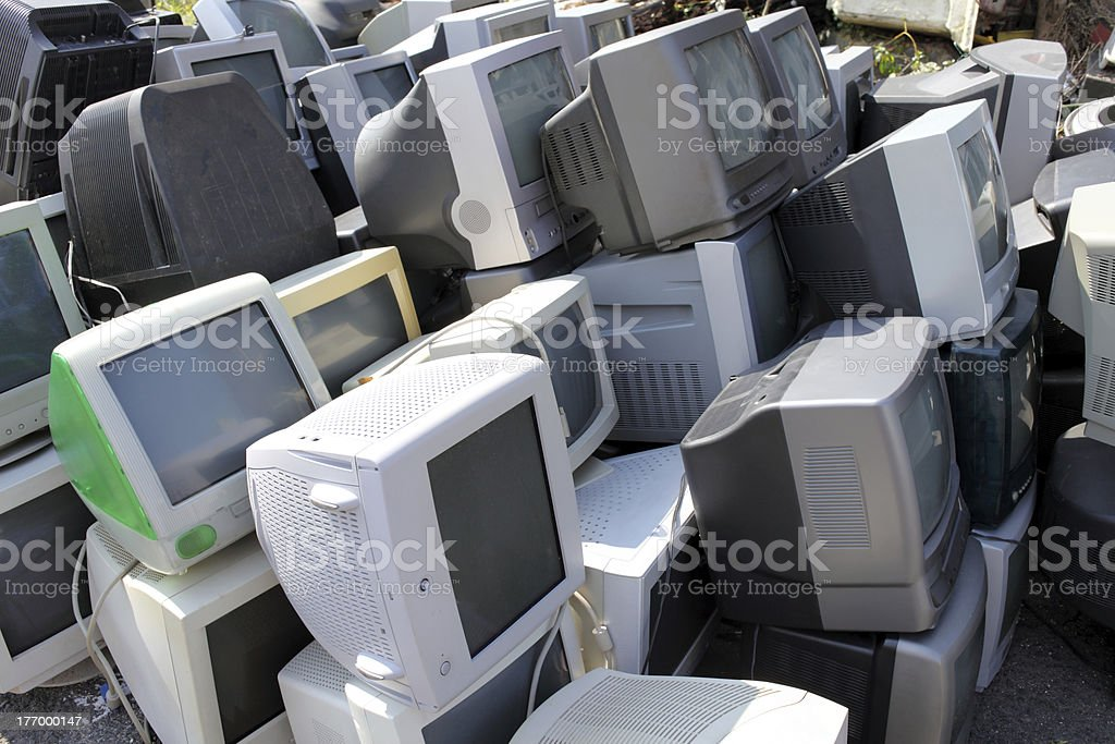 Stack of old Computer Monitors royalty-free stock photo