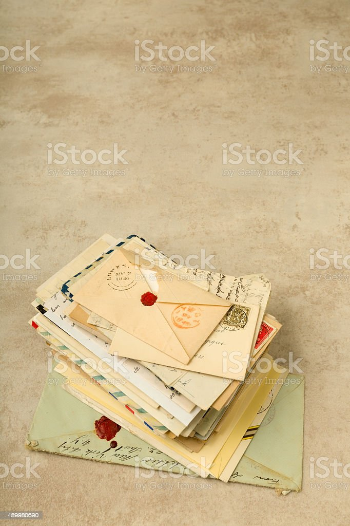Stack of old letters stock photo