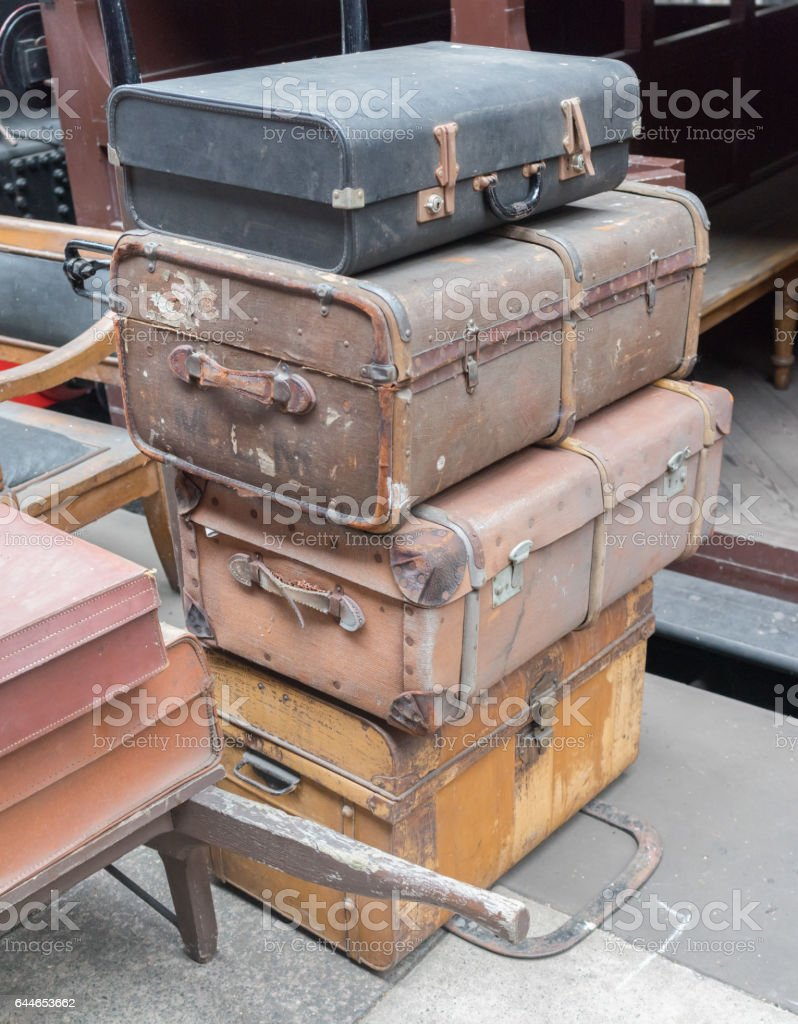 Stack of old luggage cases stock photo