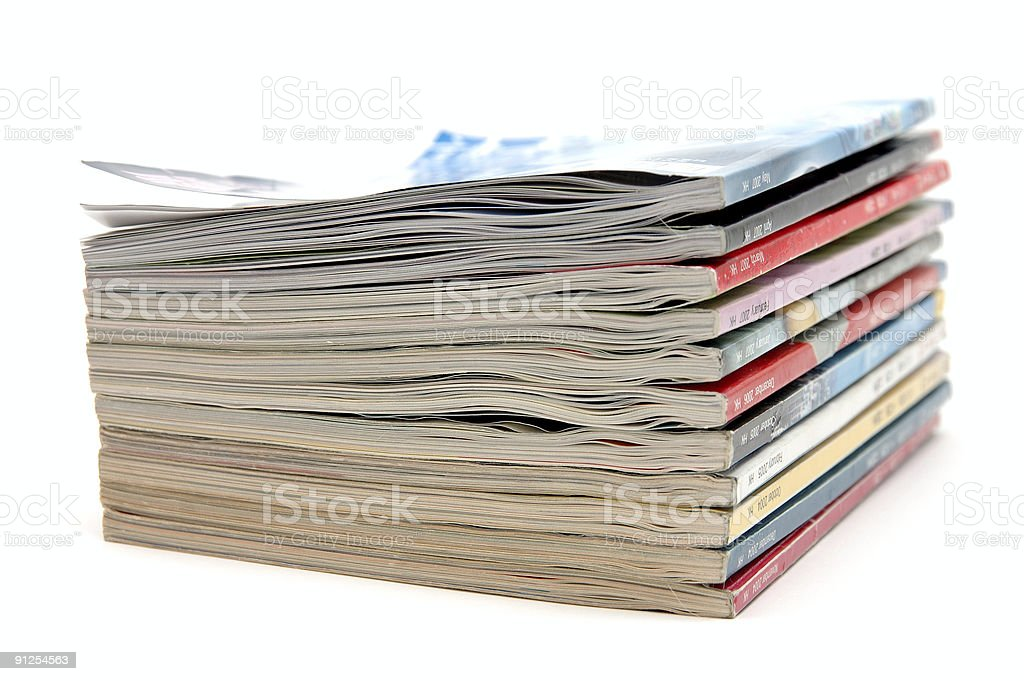 Stack of old magazine royalty-free stock photo