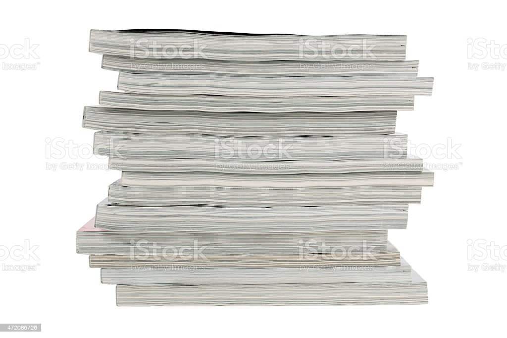 Stack of old magazines unnecessary stock photo