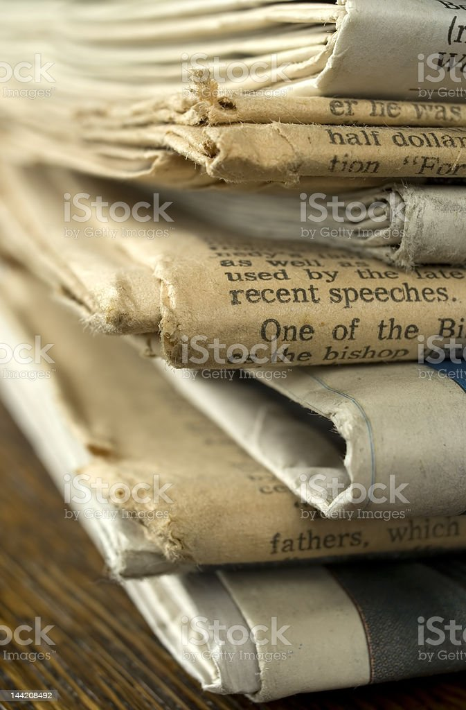Stack of Old Newspapers. royalty-free stock photo