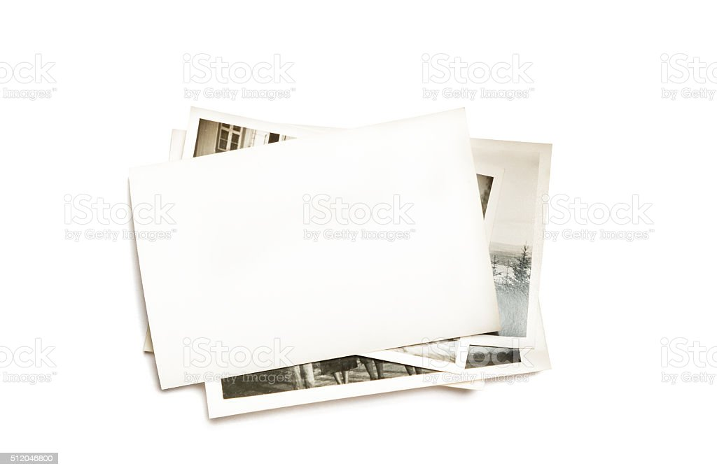 Stack of old photos stock photo