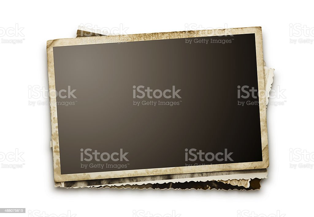 Stack of old photos with clipping path for the inside stock photo