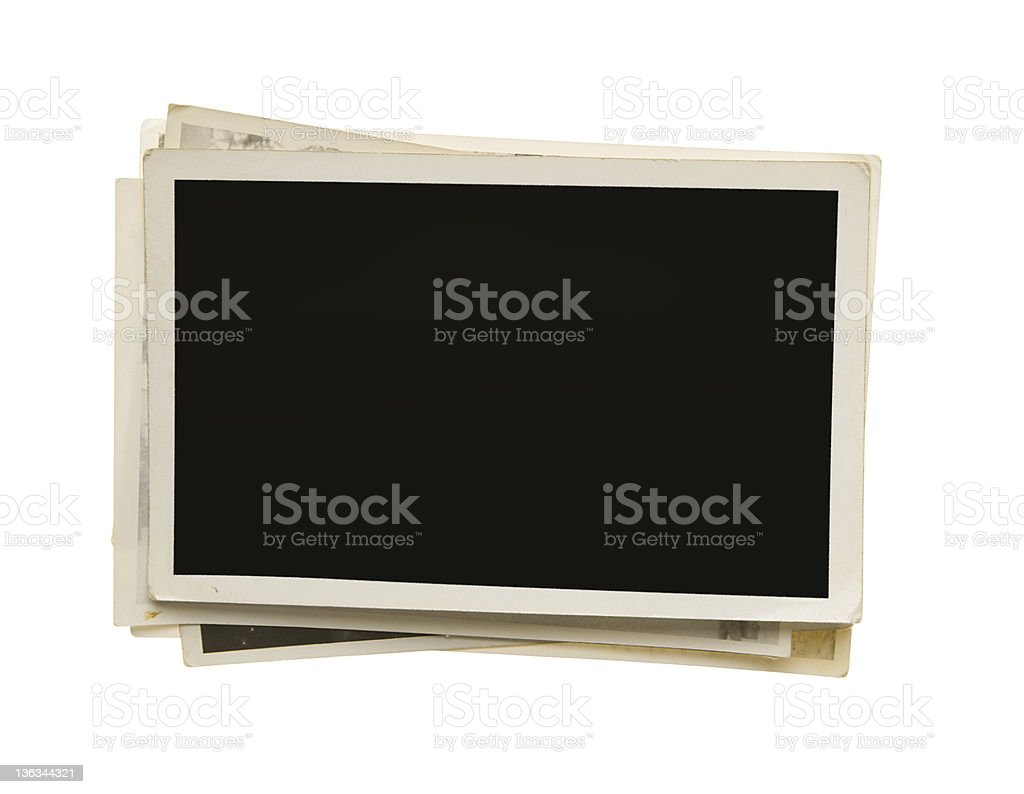 Stack of old photos with clipping path royalty-free stock photo