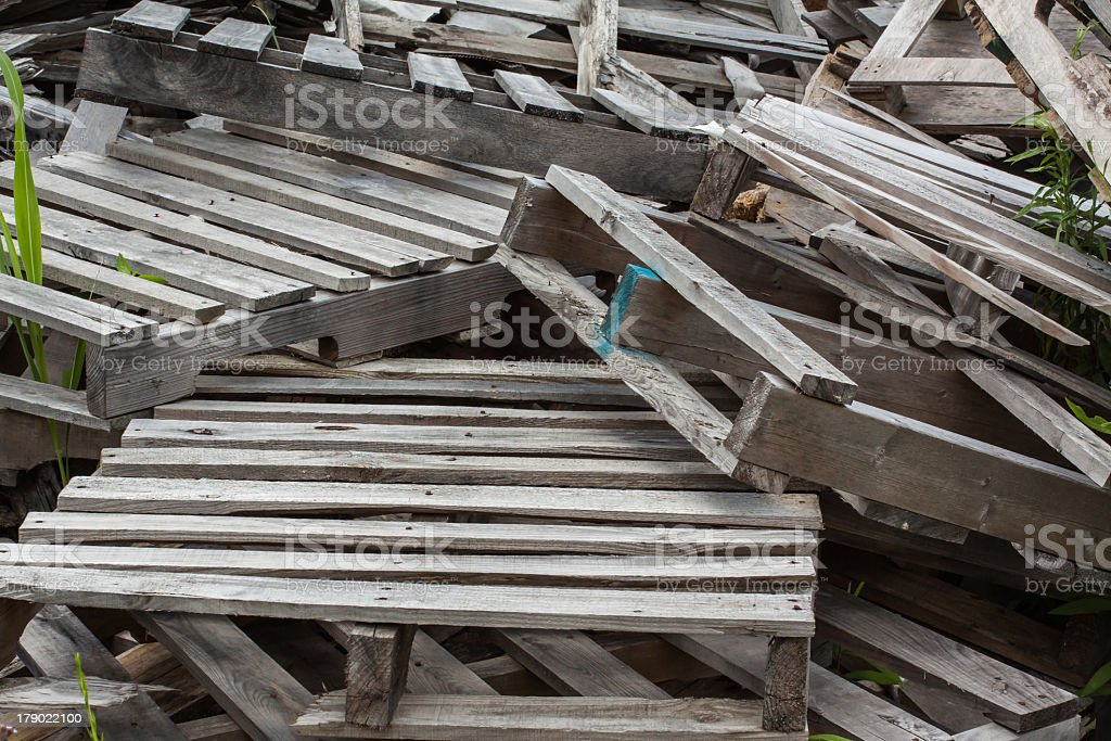 stack of old scrap pallets royalty-free stock photo