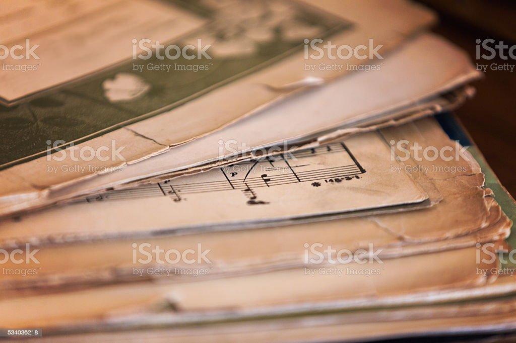 Stack of Old Sheet Music stock photo