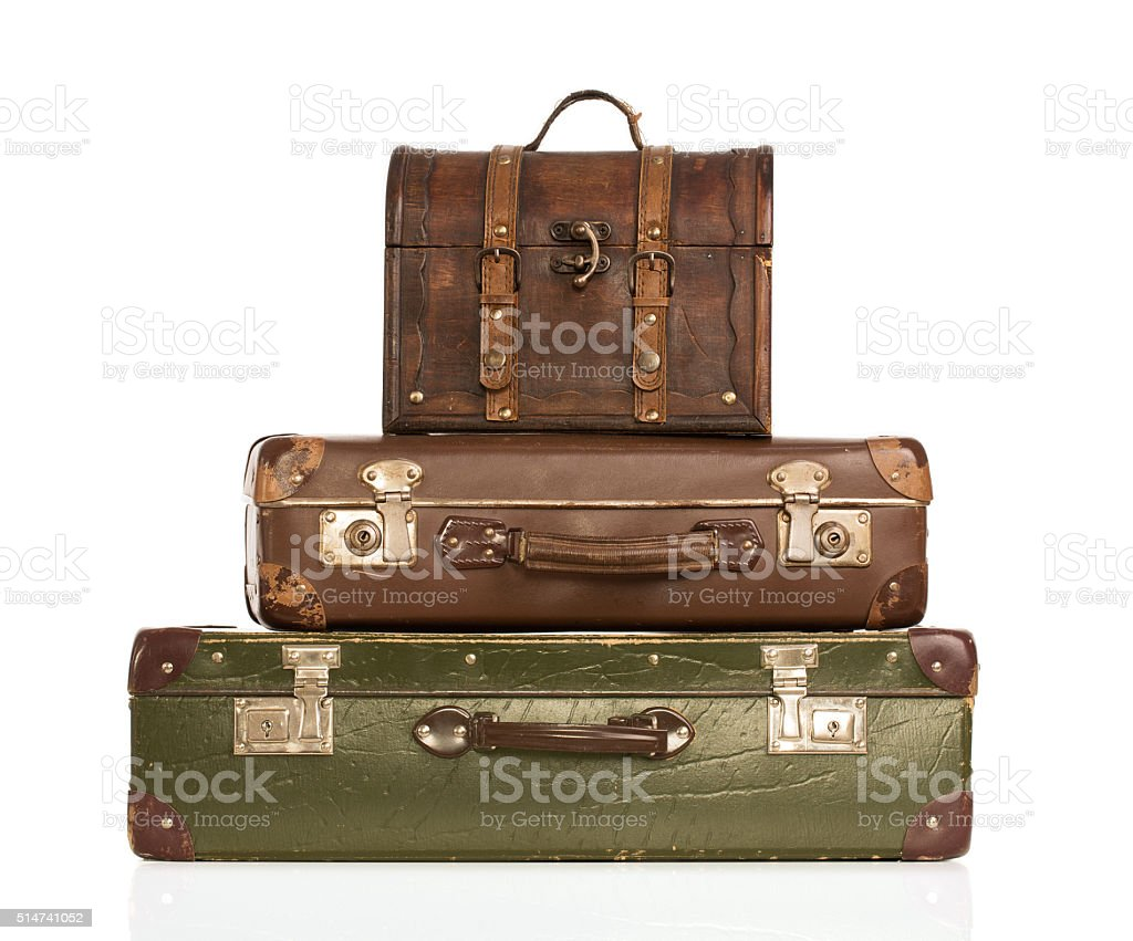 Stack of old suitcases stock photo