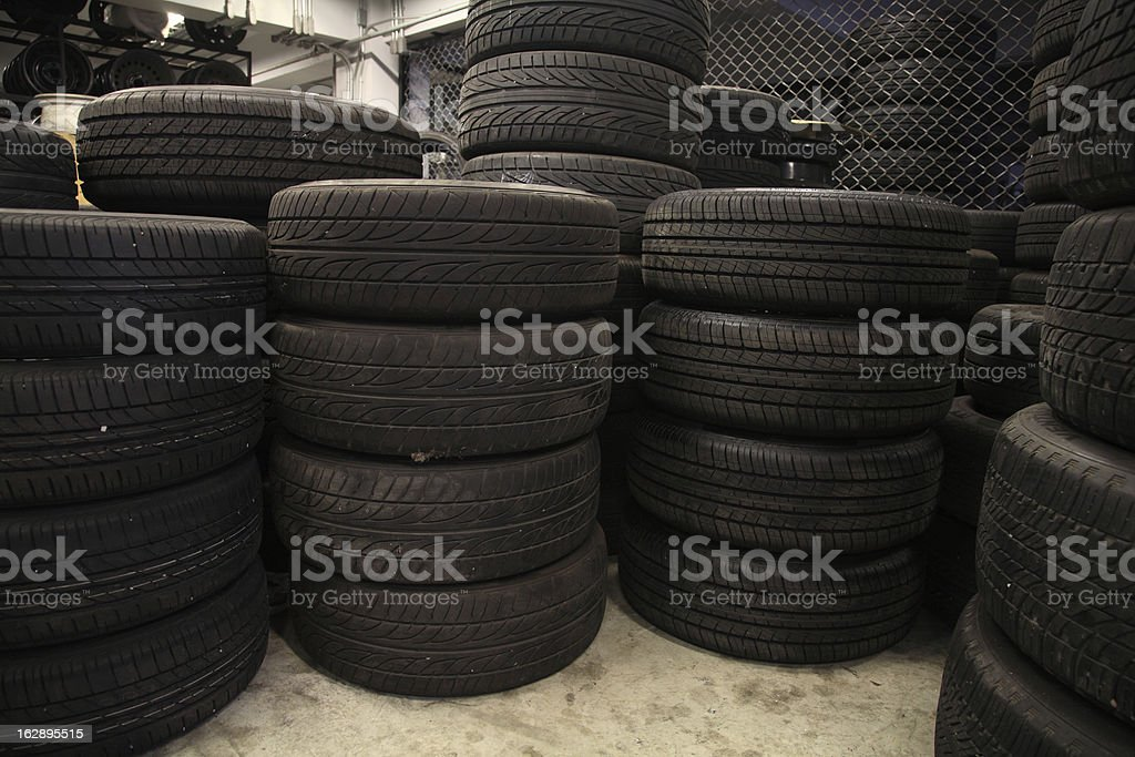 Stack of old tires royalty-free stock photo