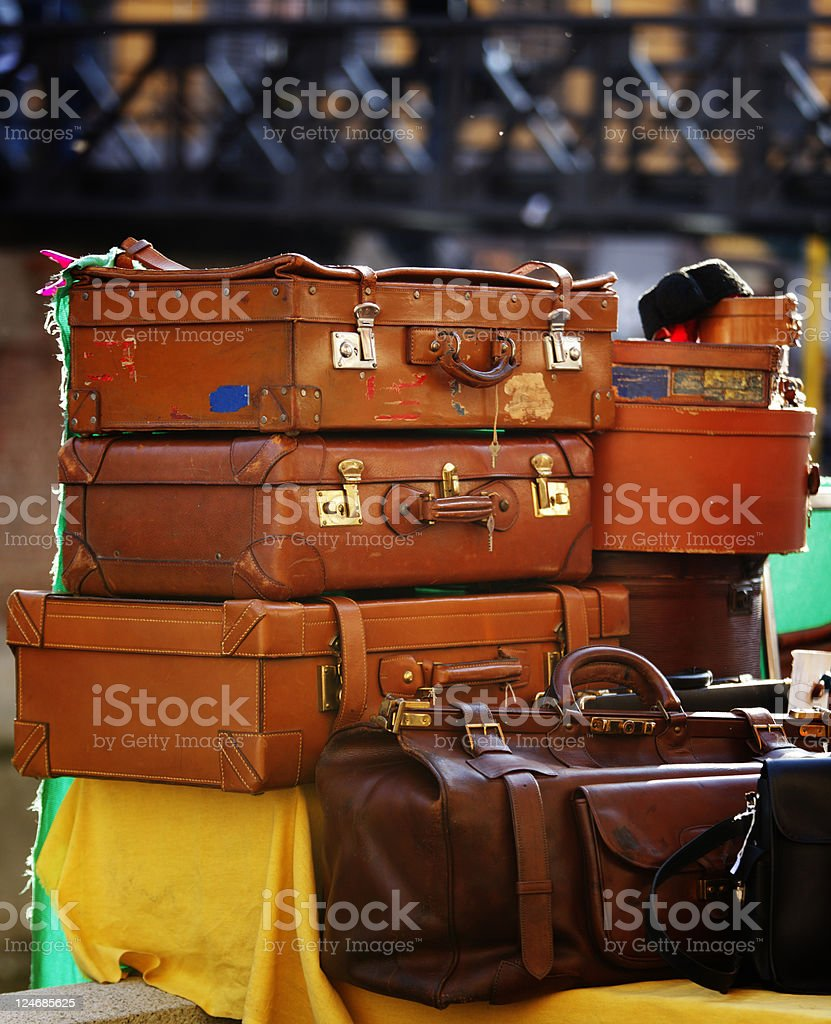 Stack of Old Travelcase in Street Market. Color Image royalty-free stock photo