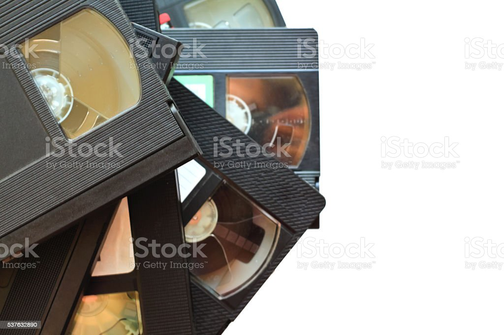 stack of old vintage videotapes. video cassettes isolated stock photo
